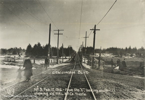 Public Works Administration (Archival) - City ~ 008.110 Looking south from Station C with view of old Portland Railway Light & Power Company street railway trestle and intersection of Columbia Blvd and Union Ave.JPG